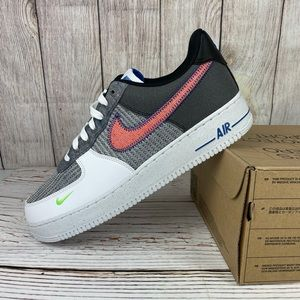 Nike Air Force 1 '07 Low White Sport Red Grey Shoe